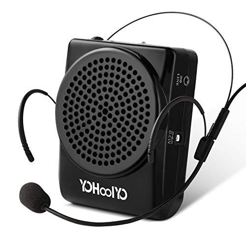 YOHOOLYO Mini Amplificatore Altoparlante di Voce da Cintura Ricaricabili Portatile 20W Speaker con Microfono Auricolare Regolabile per Insegnanti