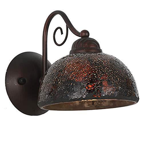 En verre Applique rétro en fer forgé noir LED lampe de mur et artisanat ancien abat-jour câblage lecture lampe de chevet éclairage intérieur lampe de table décoration,A