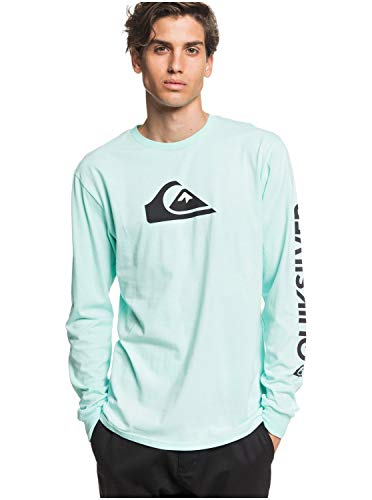 Quiksilver Men#039s COMP Logo Long Sleeve TEE Beach Glass M