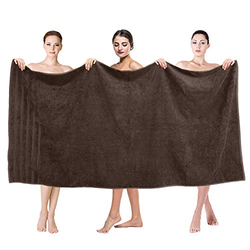 Premium, Luxury Hotel & Spa Quality, 35x70 Extra Large Jumbo Size Bath Towel, Bath Sheet Cotton for Maximum Softness and Absorbency by American Soft Linen, [Worth $34.95] Brown