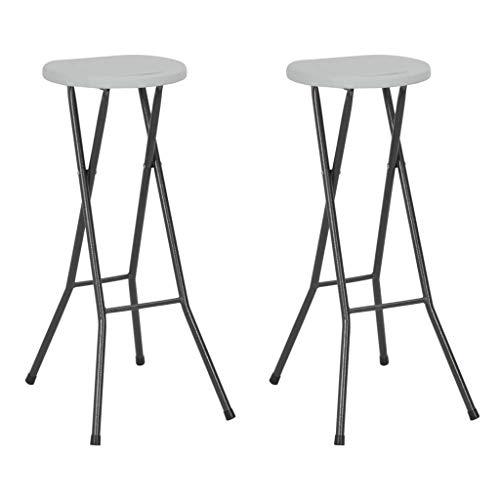 Festnight Lot de 2 Chaises de Bar Pliantes Chaise Exterieur Chaise pour terrasse Chaises de Jardin Blanc 35 x 44 x 80 cm