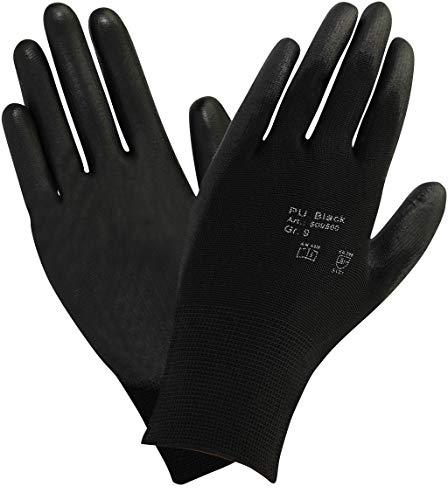10 paire - Feinstrick Gants avec revêtement PU - Noir, Taille: 6