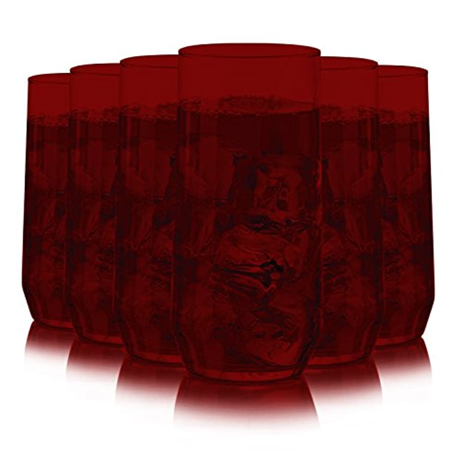Libbey Diamond Swirl 6 -Piece Glassware Set Full Red Color Additional Vibrant Colors Available by TableTop King
