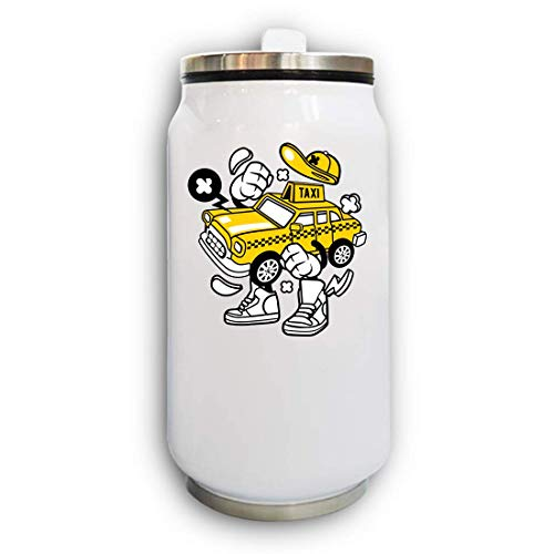 Iprints Cartoon Stijl New York NY Iconische Geel Taxi Thermische Drank Kan Thermos