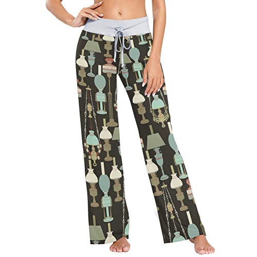 Pantalones de Pijama para Mujer Pantalones de Dormir Pantalones Largos atléticos de Pierna Ancha Lámparas Vintage