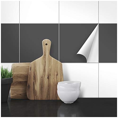 Wandkings Fliesenaufkleber - Wähle eine Farbe & Größe - Dunkelgrau Seidenmatt - 20 x 20 cm - 20 Stück für Fliesen in Küche, Bad & mehr