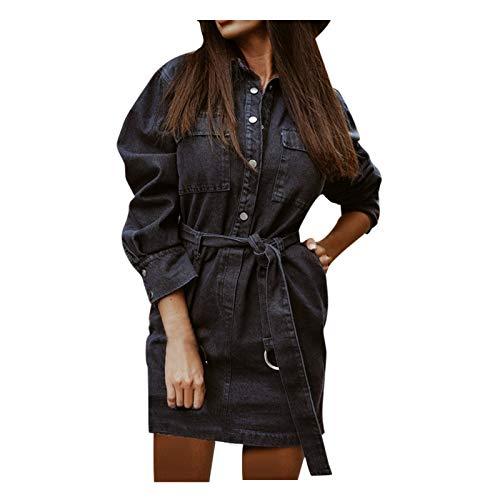 YANFANG Vestido Falda de Mezclilla Cruzada para Mujer con Cintura Delgada y Siete Puntos