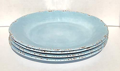 "Tommy Bahama 100% Melamine 4-Dinner Plates (11"" Diameter) RUSTIC CRACKLE LIGHT BLUE"