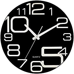 Bernhard Products Large Decorative Black Glass Wall Clock 12 Inch Silent Non Ticking Quality Quartz Battery Operated Round Unique Modern Design for Home/Kitchen/Living Room/Bedroom/Office (Jet Black)