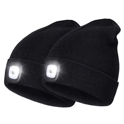 Strickmütze mit Licht, USB Nachladbare LED Mütze Hut, Unisex-Winterwärmer-Strickkappe, Hände Frei Scheinwerfer Kappe Beleuchtung, blinkende, Abnehmbar Waschbar für Jogging, Camping (Schwarz+Schwarz)