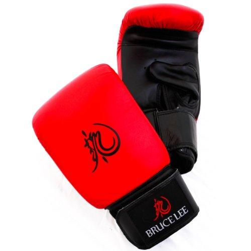 Bruce Lee Dragon Deluxe Leder Boxhandschuhe, Rot/Schwarz, X-Large