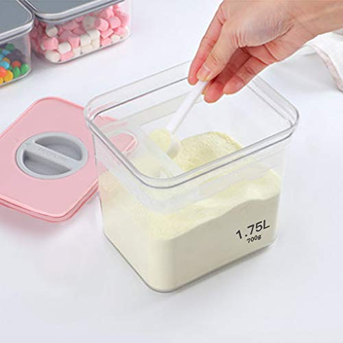 JINGBO 1800 Ml Milchpulverspender.Milchpulver Aufbewahrungsbehälter Baby, Tragbare Versiegelter Milchpulver-Aufbewahrungsbox, zur Aufbewahrung von Baby Milchpulver, Obst und Lebensmitteln,Pink