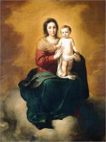 Posterlounge Cuadro de metacrilato 70 x 90 cm: Virgin and Child de Bartolome Esteban Murillo