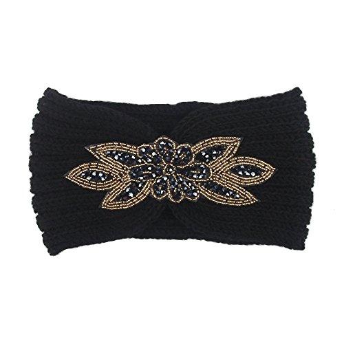 Femmes Bandeau à Tricoter Chaud Hairband Headband Bluestercool (NoirB, Taille unique)