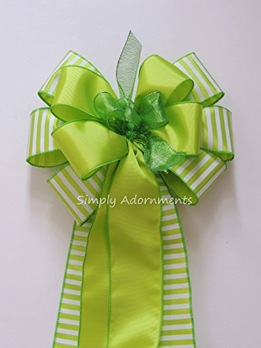 Lime Green Spring Wreath Bow Green Easter Door hanger Bow Easter Gift Basket Bow Spring Easter Swag Bow Green Bridal Shower Party Decorations