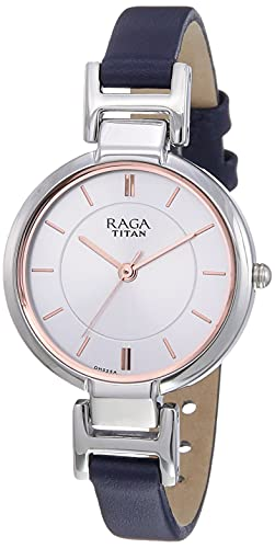 Titan Raga Viva - Reloj analógico para mujer (esfera blanca, plateado)