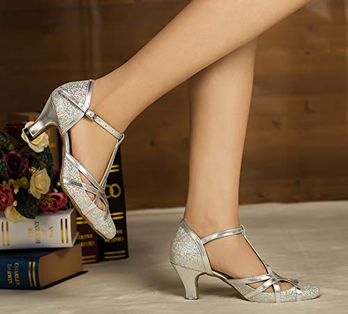 Minitoo , Damen Tanzschuhe, Silber – silber – Größe: 40 - 6