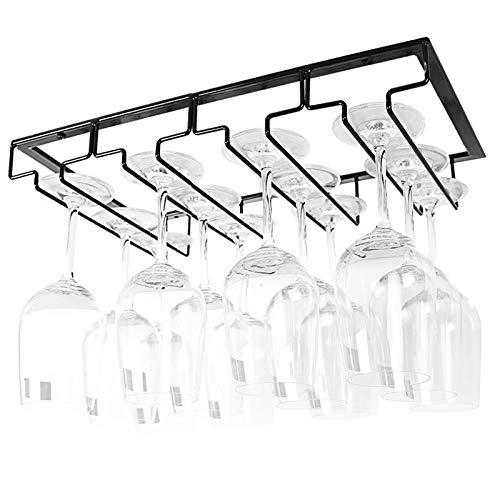 YunNasi Soportes para Copas de Vino de Metal Organizador Mantener los Vasos Secos Debajo del Gabinete con Tornillos para Bar Restaurante Cocina (4 Filas, Negro)
