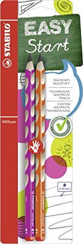 Matita Ergonomica triangolare - STABILO EASYgraph per Destrimani in Rosa/Arancione - Pack da 2 - Gradazione B