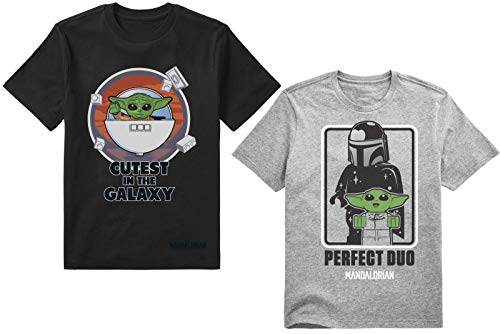 LEGO Star Wars Juego de 2 Camisetas para niños Mandalorian Baby Yoda Force y Darth Vader Pefect Duo, Protect-Attack-Snack-Repeat, Gris/Negro, 5/6