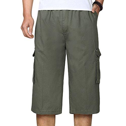 YiLianDa Pantaloncini da Uomo 3/4 Bermuda Cargo Shorts con Elastico in Vita Army XL