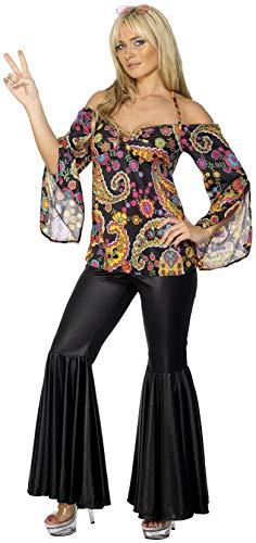 Smiffys Hippie Kostüm Damen mit gemustertem Oberteil und Schlaghose, XXL (52 - 54 EU), Schwarz