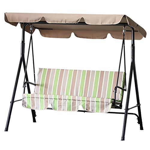 Outsunny 3-Person Porch Lawn Swing with Canopy, Outdoor Yard Glider Swing Chair with Stand, Multi Color Stripe