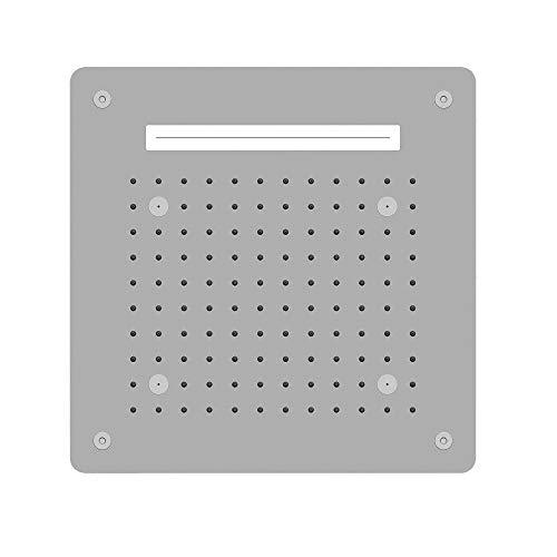 Soffione Doccia LED a Soffitto Installazione Da Incasso Con Cascata Acciaio Inox Quadro