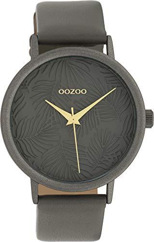 Oozoo Damenuhr mit Lederband 42 MM Grau/Grau/Grau C10084