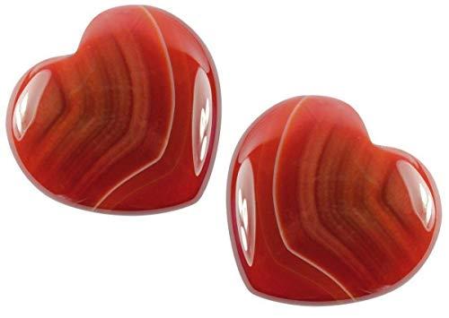 Edelstein Carneol Herz, 4 cm, 2 Stück, Edelsteinherz Steinherz Karneol rot