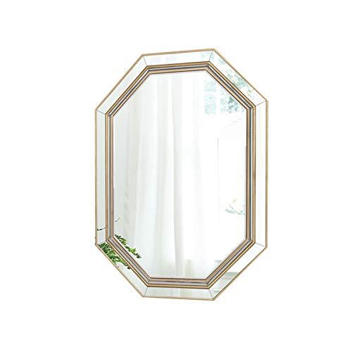 Espejo De Baño, Oro Moderno De Madera del Marco De Octagon Pared Espejo, Espejo Colgante Decorativo, Vanidad Espejo De Maquillaje para Sala De Estar Baño Dormitorio