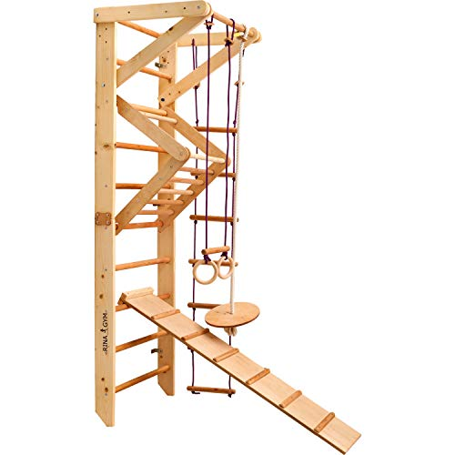 RINAGYM Kletterwand für Kinder - Indoor Klettergerüst aus Holz - Wand-Reck, Stange, Gymnastik-Ringe, Kletterseil, Abnehmbarer Balken, schwedische Leiter, Schaukel, Rutsche, Montagesatz