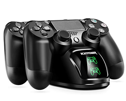 PS4 Chargeur ECHTPower DualShock 4 Station de Charge Support d'alimentation pour Sony Playstation PS 4 / Slim/Pro Contrôleur sans Fil avec Câble de Charge et LED élégants (Vert&Rouge LED)