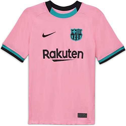 NIKE FC Barcelona Temporada 2020/21-FCB Y NK BRT STAD JSY SS 3RCK7882-654 Camiseta Tercera Equipación, Niño, Pink Beam/Black Full Sponsor, M