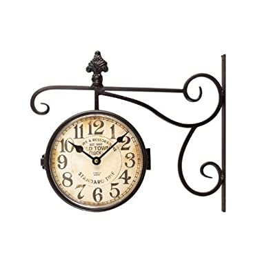 Adeco Black Wrought Iron Vintage-Inspired Train Railway Station Style Two Faces Wall Hanging Clock with Wall Side Mount Old Town Clocks Home Decor, Small 13 x 11 x 3.5 inch, Black