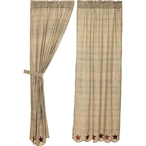 VHC Brands Abilene Star Panel Set of 2 84x40 Country Curtains, Tan