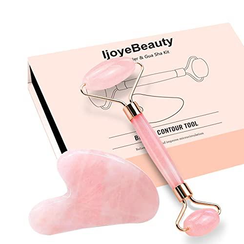 Jade Roller und Gua Sha Set, IjoyeBeauty Anti-Aging-Hautpflege-Massagegerät, 100% natürlicher Rosenquarz - Gesichtsmassagegerät, Gesichtsroller, Körper, Augen, Hals-Lymphdrainage-Tool für Frauen
