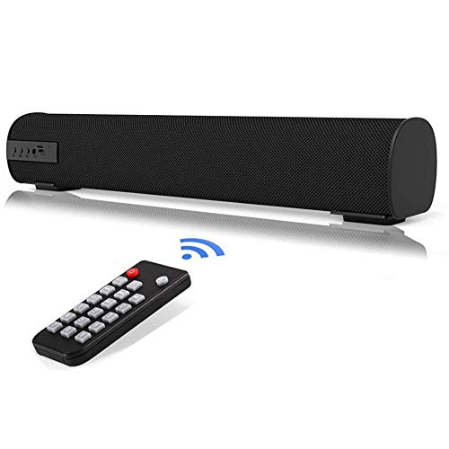 QSPORTPEAK Sound Bar con telecomando, Altoparlanti Bluetooth Altoparlante portatile cablato e wireless, Altoparlante stereo di qualità superiore Bassi profondi per TV/PC/Telefoni/Tablet
