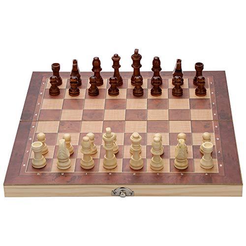 wolketon Schachspiel aus Holz handgefertigt Hochwertiges klappbar Schachbrett aus Echtholz mit Schachfiguren groß,3 in 1 ,für Kinder und Erwachsene (29 x 29 cm)