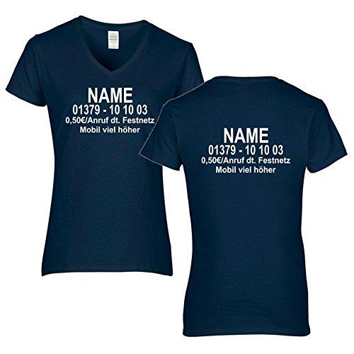 Damen V-Ausschnitt T-Shirt Dschungel Camp Wunschname Wunschnummer DSCHUNGELCAMP (XXL, Dunkelblau/Druck Beidseitig)
