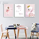 Swan Dancer Wall Art Canvas Poster Nursery Print Minimalist Painting Decorative Picture Nordic Baby Girl Dormitorio Decoración 14'X20'X3Panels