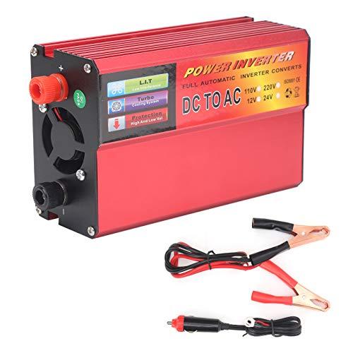 Yctze Convertidor de energía de 800 W, 24 V CC a 220 V Inversor de energía inteligente Convertidor de CA Pantalla digital de onda sinusoidal modificada (rojo)
