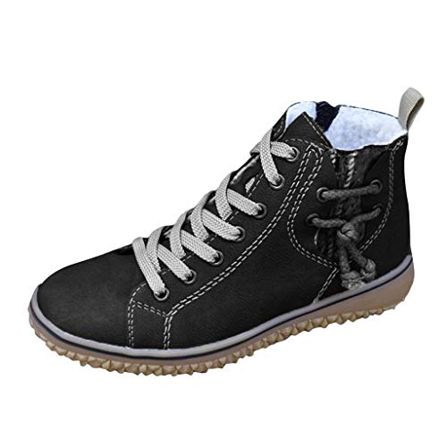 Kaister Damen Flache Schuhe Warm Plus Size Casual Wedges Sneakers Ankle Short Boots