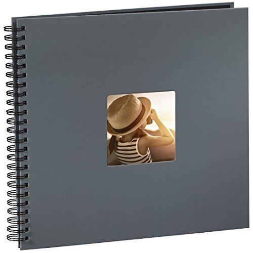 Hama Jumbo Fotoalbum, 36 x 32 cm, 50 schwarze Seiten, 25 Blatt, mit Ausschnitt für Bildeinschub, Fotobuch grau