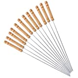 HAKSEN 12 PCS Barbecue Skewers with Wood Handle Marshmallow Roasting Sticks Meat Hot Dog Fork Best for BBQ Camping Cookware Campfire Grill Cooking, Stainless Steel