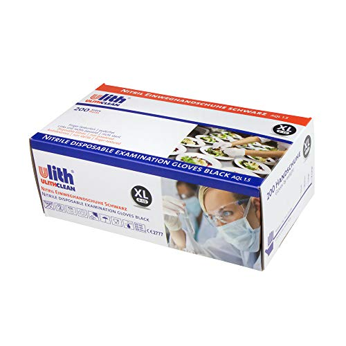 ulith Nitrilhandschuhe | Einweg-Schutzhandschuhe | 200 Stück | Latexfrei & Puderfrei | beidhändig tragbar | unsteril | Einmal-Untersuchungshandschuhe | Lebensmittelsicher (XL 9-10, schwarz)