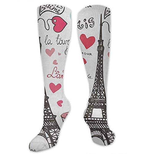xiongjiansd Kompressionsstrümpfe für Damen und Herren, Motiv Paris Symbols mit Herz-Schriftzug