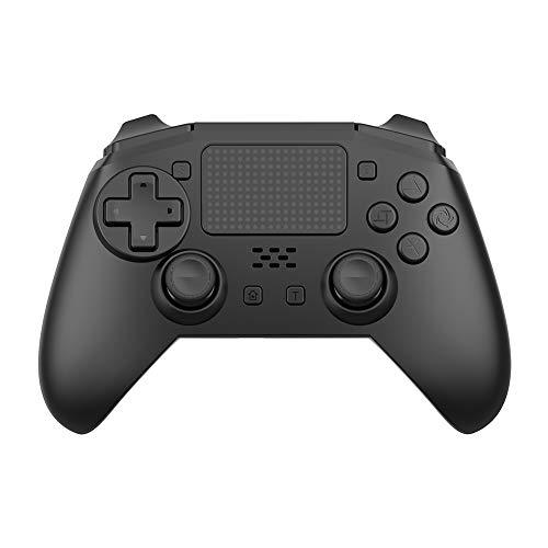 VAWA Controlador inalámbrico de Juegos: Cargador rápido Doble Bluetooth 4.0 con Mango de 360 °, Doble vibración, Seis Ejes, para Playstation 4 / PS4 Slim/PS 4 Pro/PC-Black