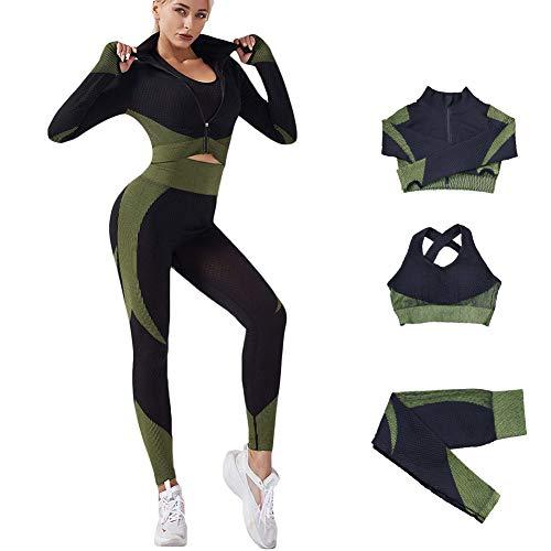 Veriliss 3 Piezas Mujer Yoga Traje Entrenamiento Para, Gym Mallas de Yoga Sin Costuras y Sujetador Deportivo Elástico Ropa de Gimnasio (NegroVerde, L)