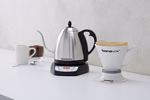 The Bonavita Kettle, coffee, and a pour over dripper